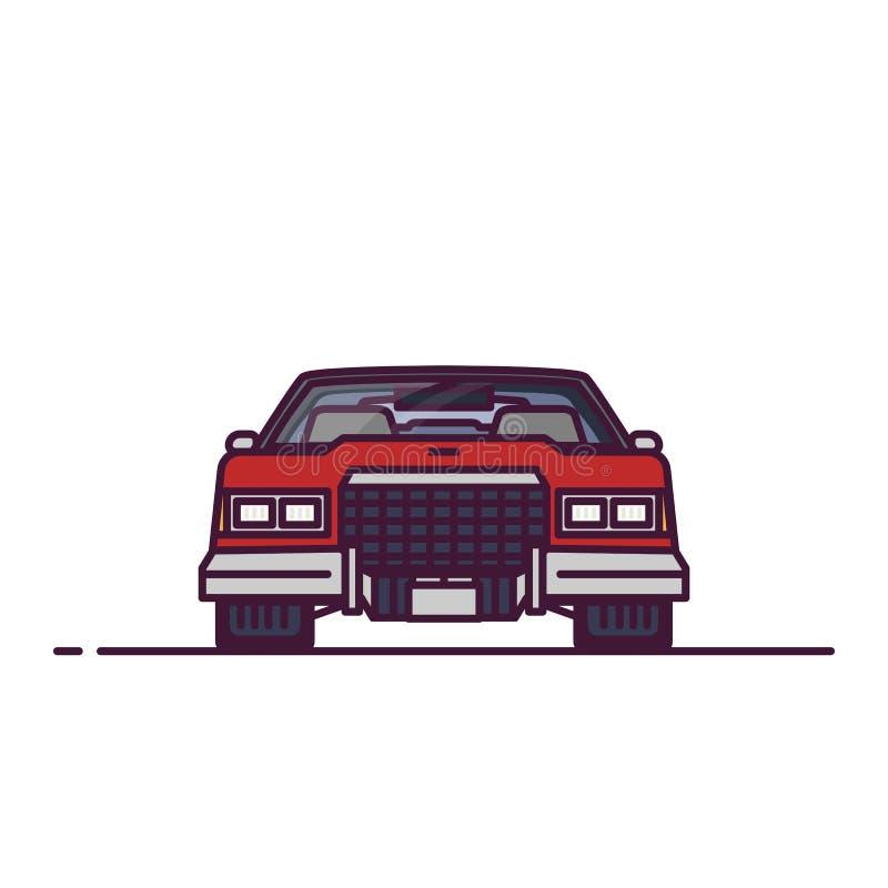 Vista delantera del coche retro 70s stock de ilustración