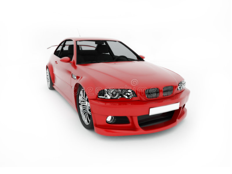 Vista delantera del deporte-coche rojo stock de ilustración