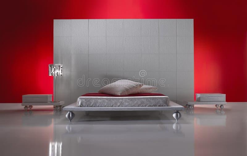 Vista delantera del dormitorio lujoso de Minimalistic foto de archivo