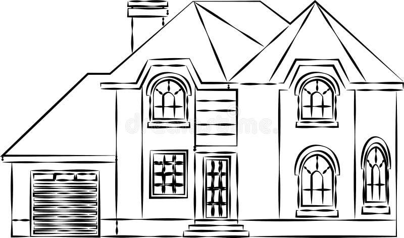Vista delantera del ejemplo exterior del vector de las casas con el tejado moderno Apartamento del edificio de la casa urbana Fac libre illustration