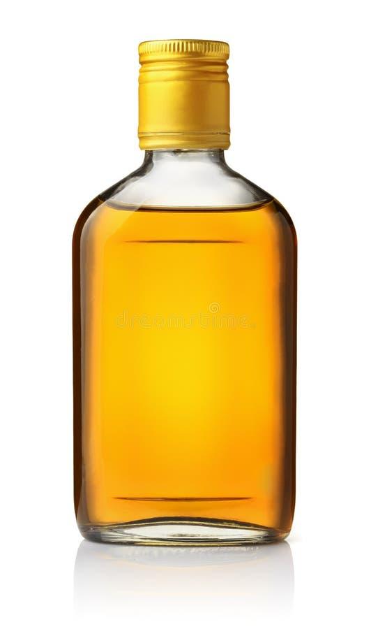 Vista delantera del frasco del brandy imagenes de archivo