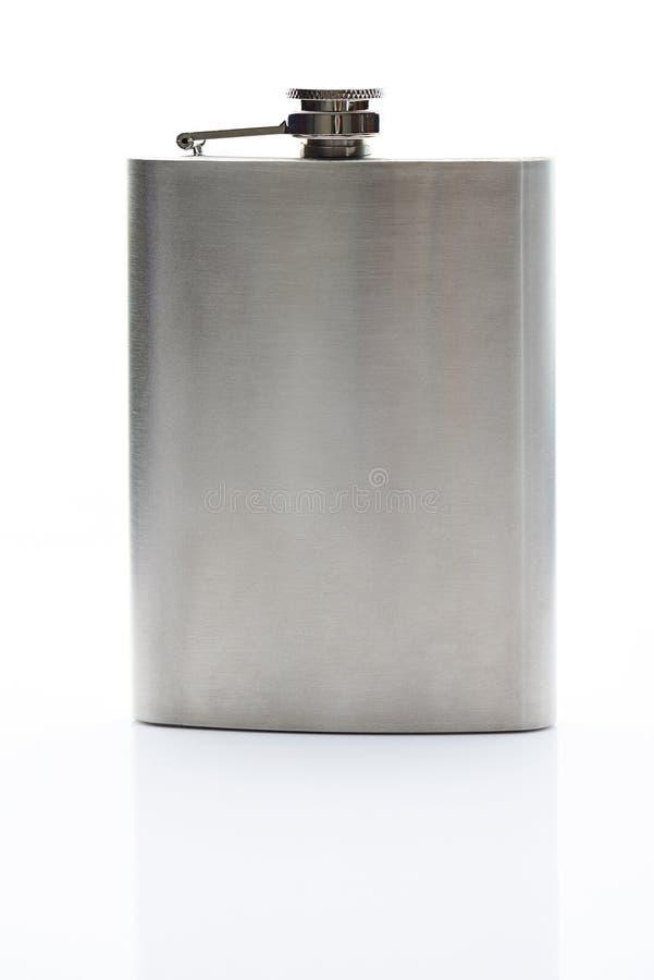 Vista delantera del frasco del metal imagenes de archivo