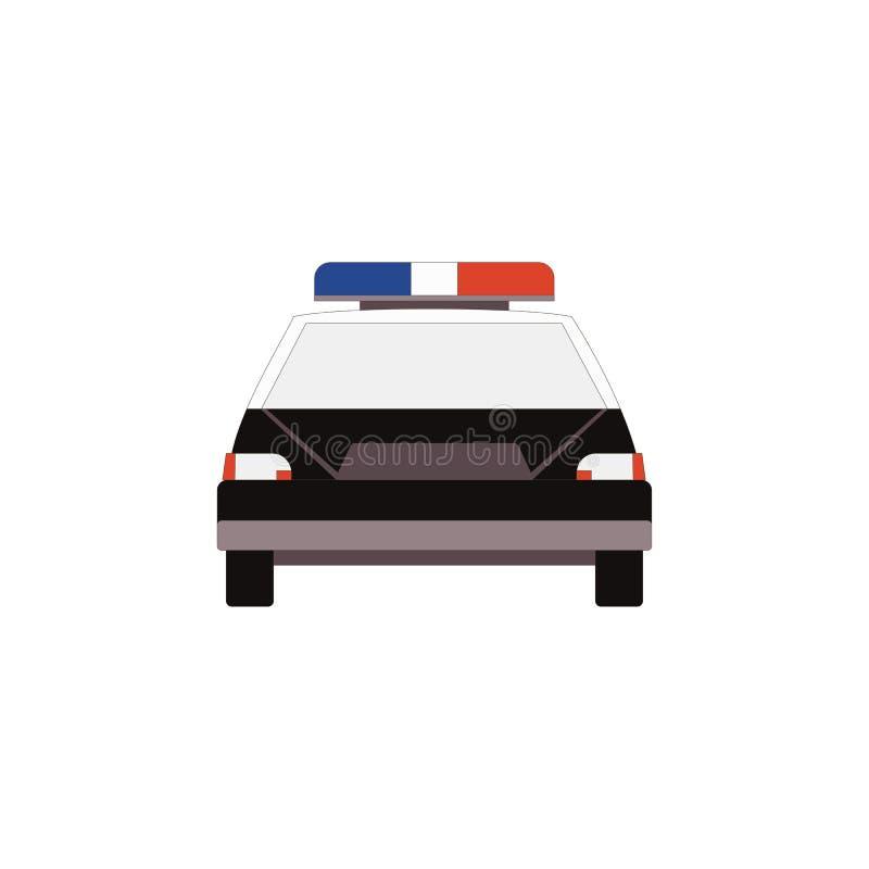 Vista delantera del icono del coche policía en el estilo plano para el diseño de UI UX Vector libre illustration