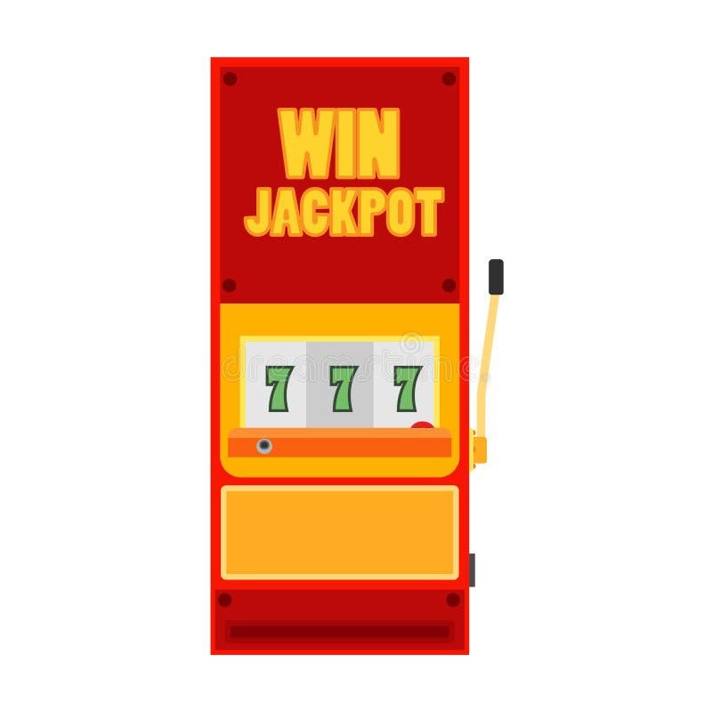 Vista delantera del icono del vector del juego del casino de la máquina tragaperras Bote que juega triunfo del dinero de vegas Ba stock de ilustración