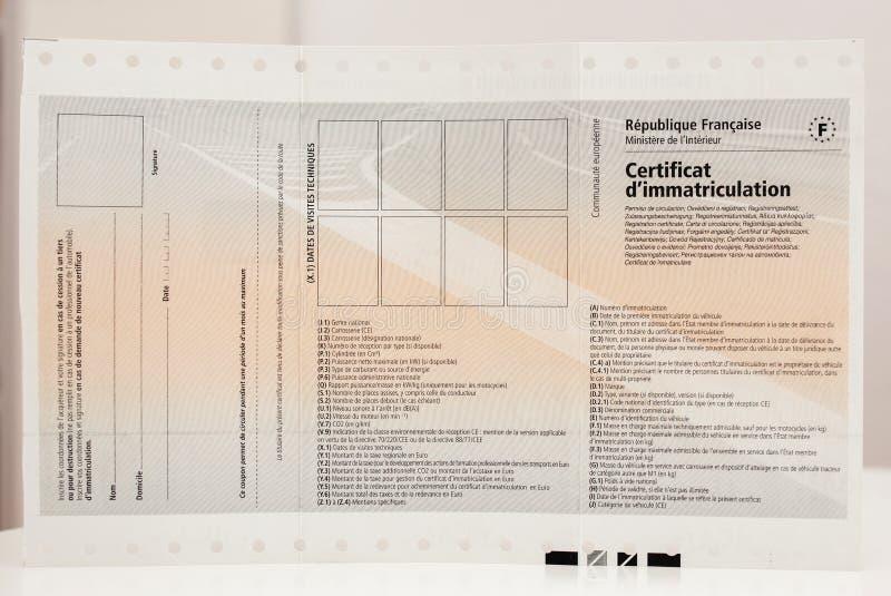 Vista delantera del IMM del ` del certificat d del certificado de registro de vehículo foto de archivo libre de regalías