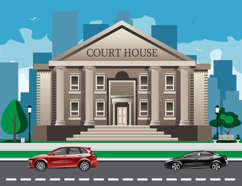 Vista delantera del Palacio de Justicia libre illustration