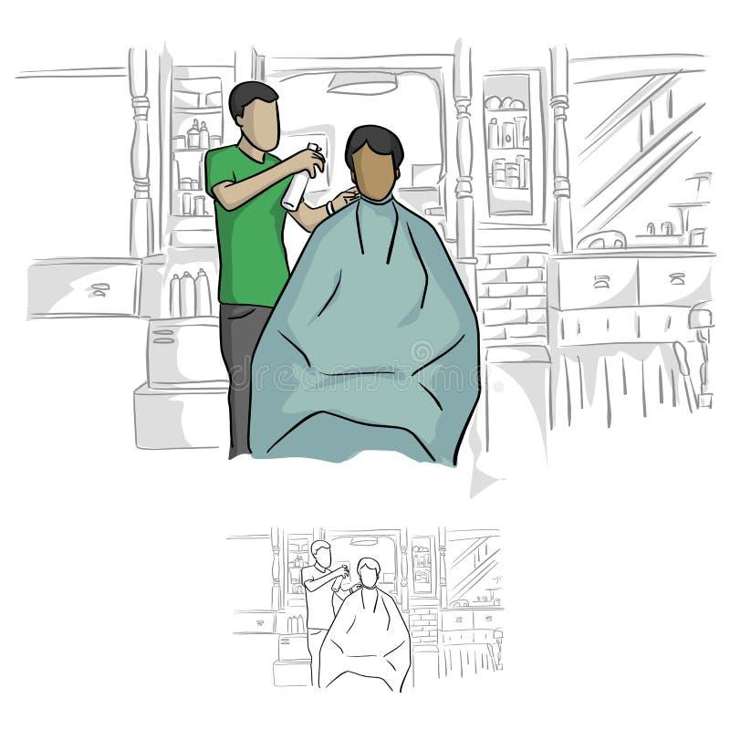 Vista delantera del peluquero que usa el espray en el pelo del vec masculino del cliente stock de ilustración