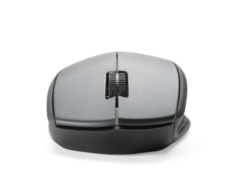Vista delantera del ratón negro del ordenador aislada fotografía de archivo libre de regalías