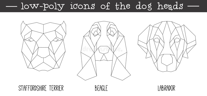 Vista delantera del sistema triangular del icono de la cabeza de perro libre illustration