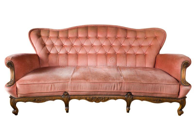 Vista delantera del sofá de lujo de la vendimia aislado imagen de archivo libre de regalías