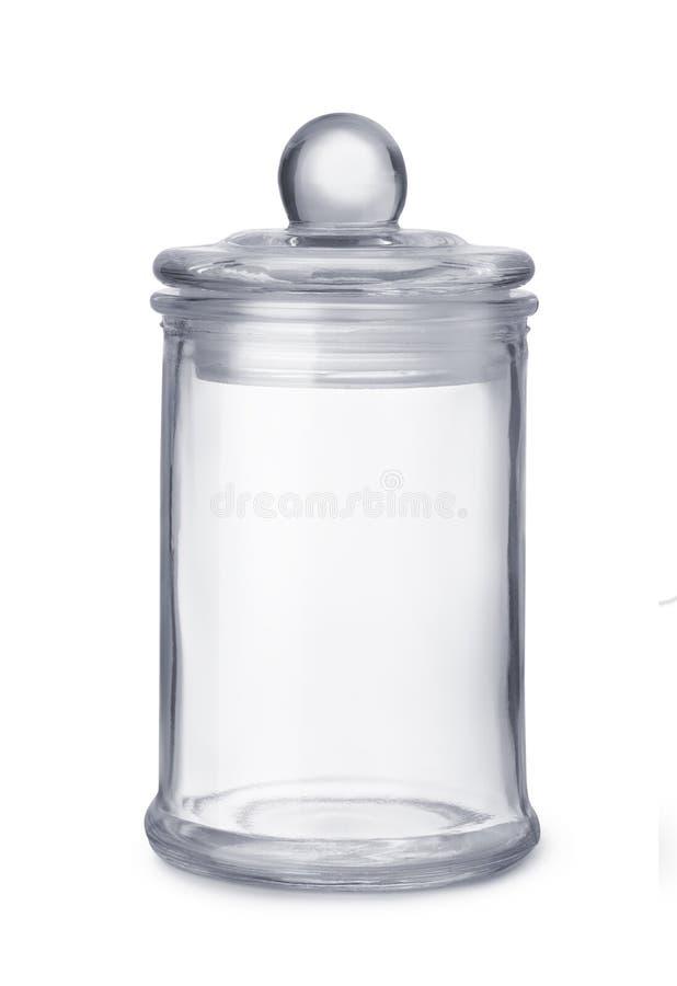 Vista delantera del tarro de cristal vacío de la cocina fotografía de archivo libre de regalías