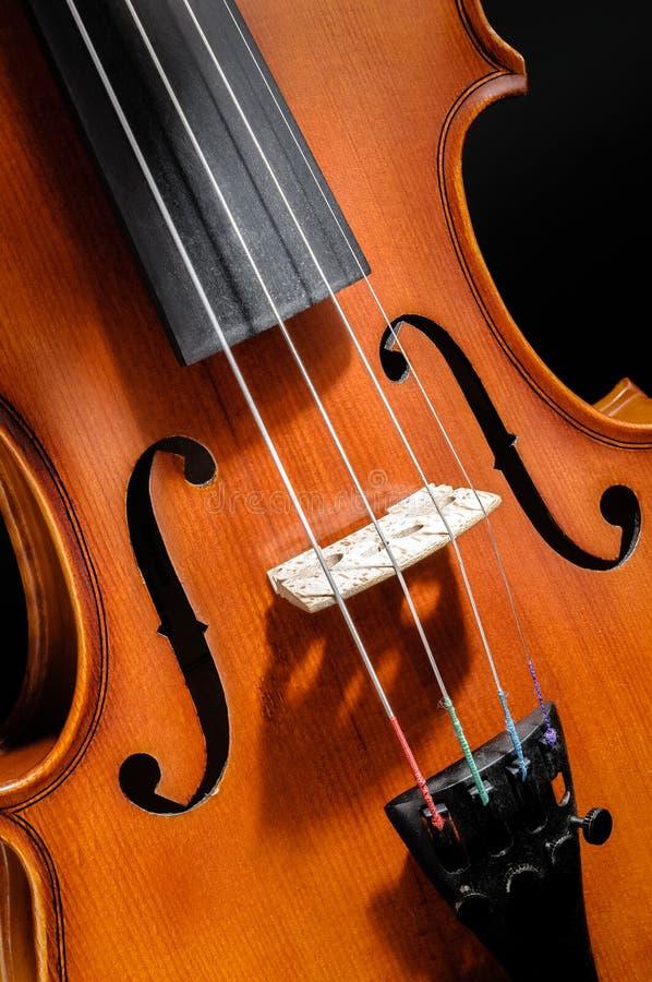 Vista delantera del violín cosechada fotografía de archivo libre de regalías