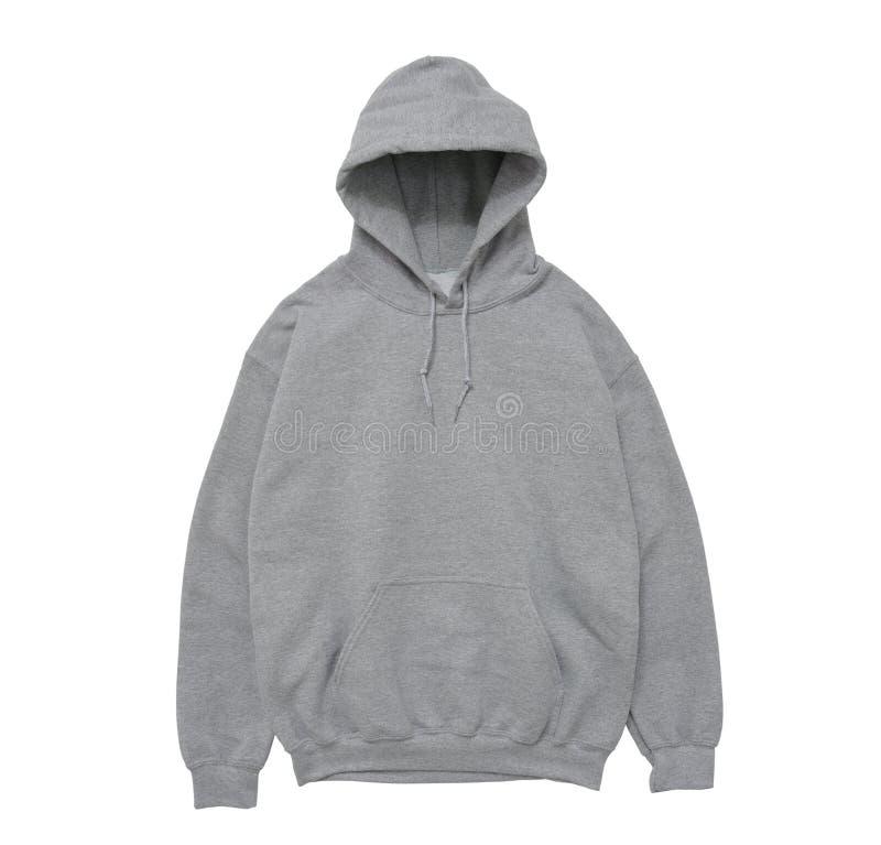 vista delantera gris del color en blanco del suéter con capucha foto de archivo