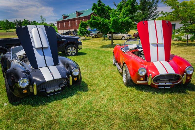 Vista delantera hermosa asombrosa del deporte clásico del vintage que compite con los coches elegantes fotos de archivo