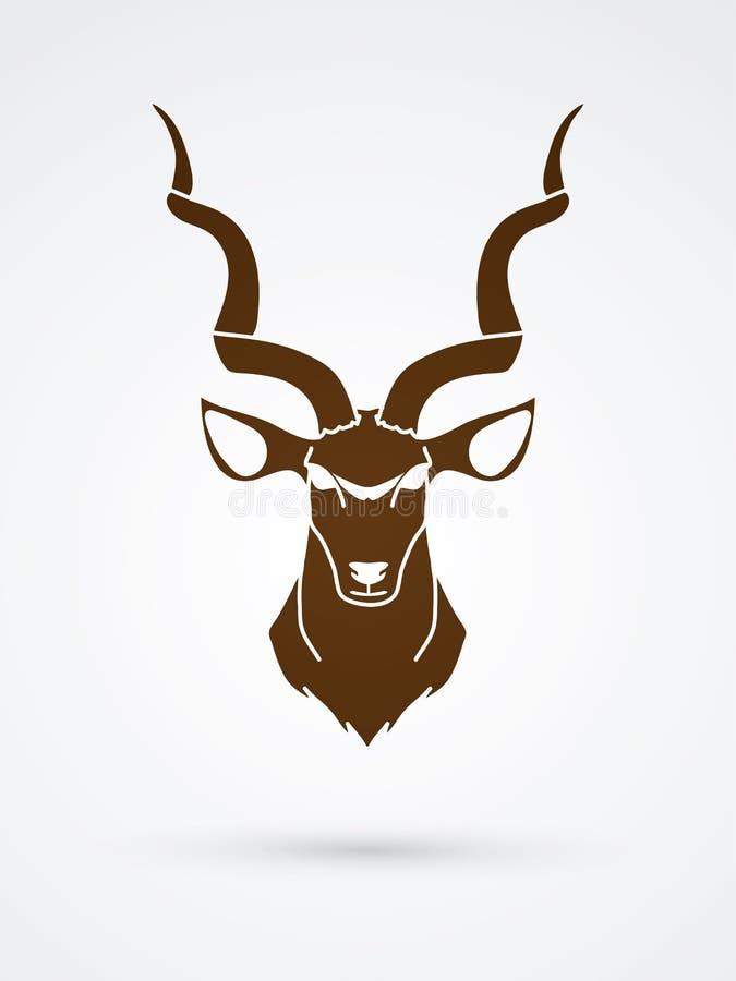 Vista delantera principal de Kudu ilustración del vector
