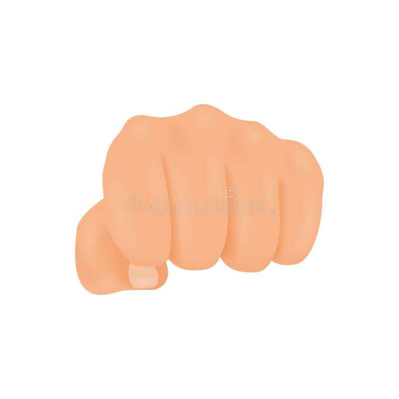 Vista delantera realista que perfora o que golpea el ejemplo del vector de la mano del puño ilustración del vector