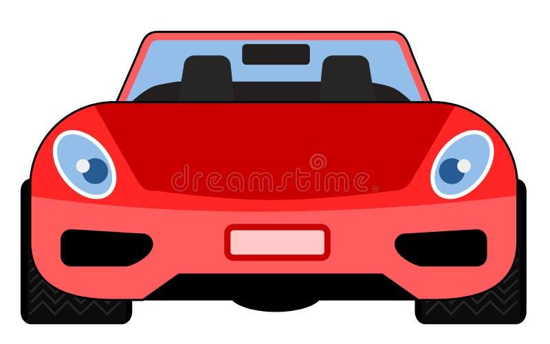 Vista delantera roja del coche de deportes ilustración del vector