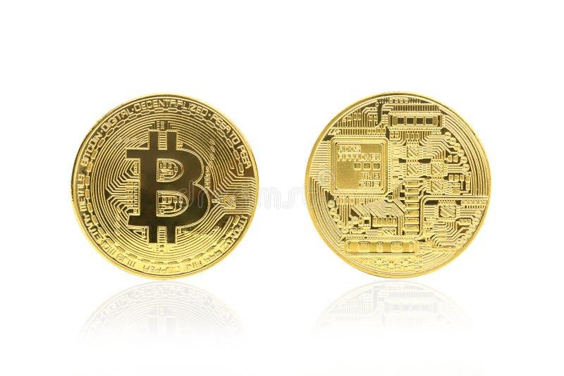 Vista delantera trasera y del bitcoin de oro imagen de archivo libre de regalías