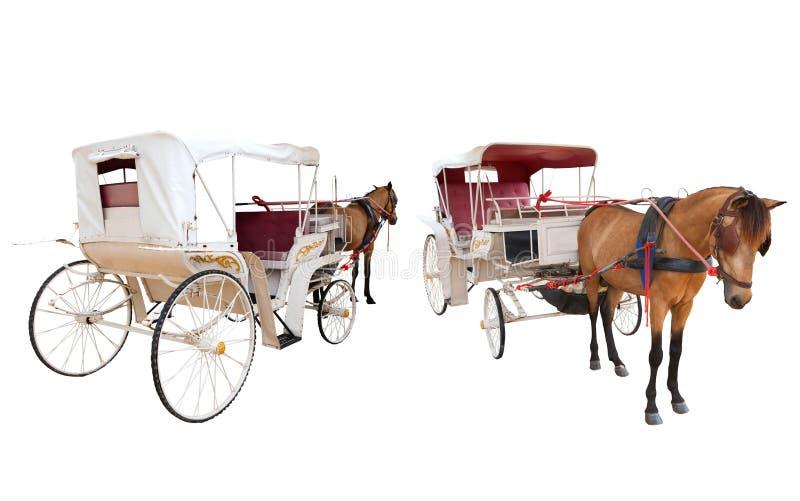 Vista delantera y trasera de la cabina del carro del cuento de hadas del caballo aislada fotografía de archivo libre de regalías