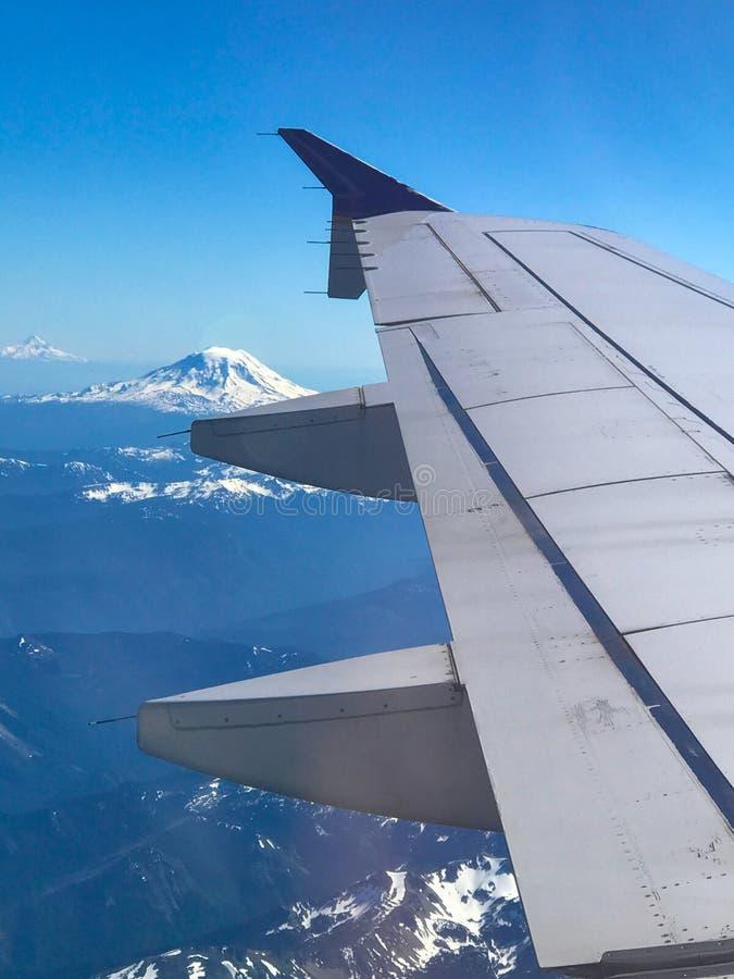 Vista dell'aeroplano del cappuccio del supporto e del monte Rainier fotografia stock libera da diritti