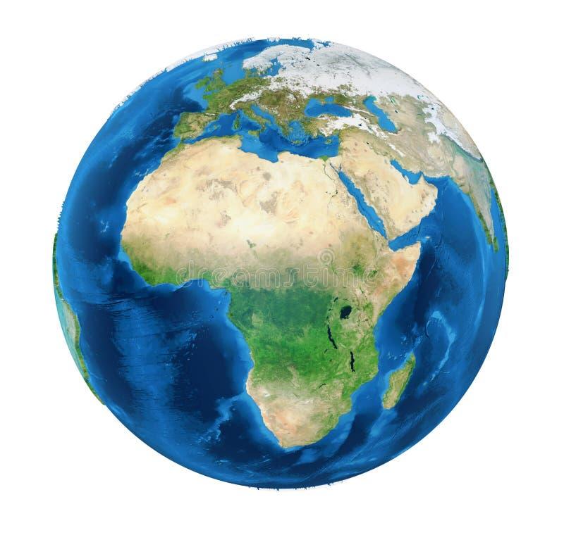 Vista dell'Africa del globo della terra isolata illustrazione vettoriale