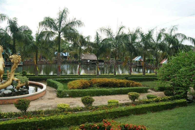 Vista dell'albero e del lago in giardino immagini stock libere da diritti