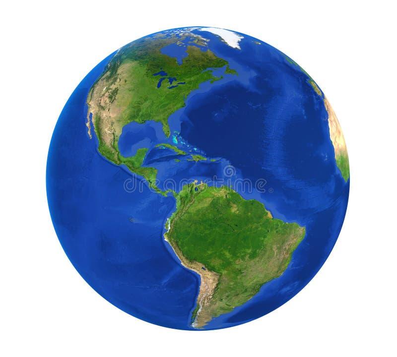 Vista dell'America del globo della terra isolata royalty illustrazione gratis