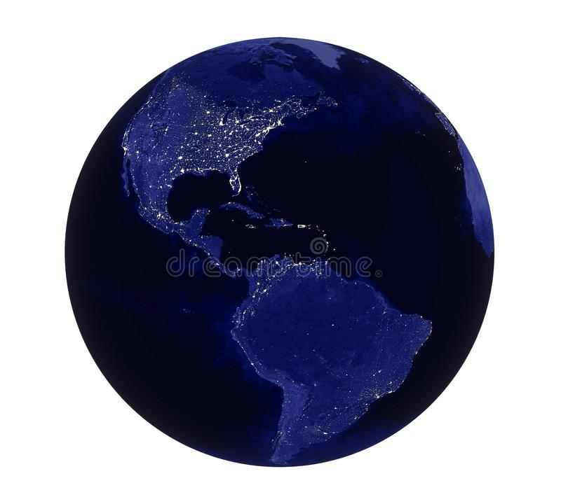 Vista dell'America della luce notturna del pianeta Terra isolata royalty illustrazione gratis