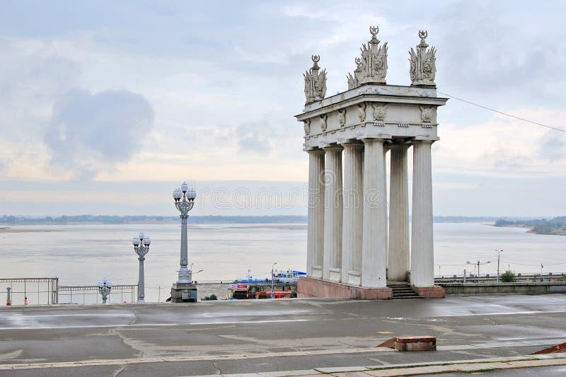 Vista dell'argine del fiume Volga fotografia stock libera da diritti
