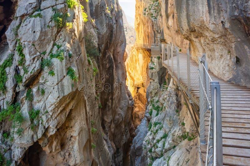 Vista dell'attrazione turistica Malaga, Spagna di El Caminito del Rey fotografia stock libera da diritti
