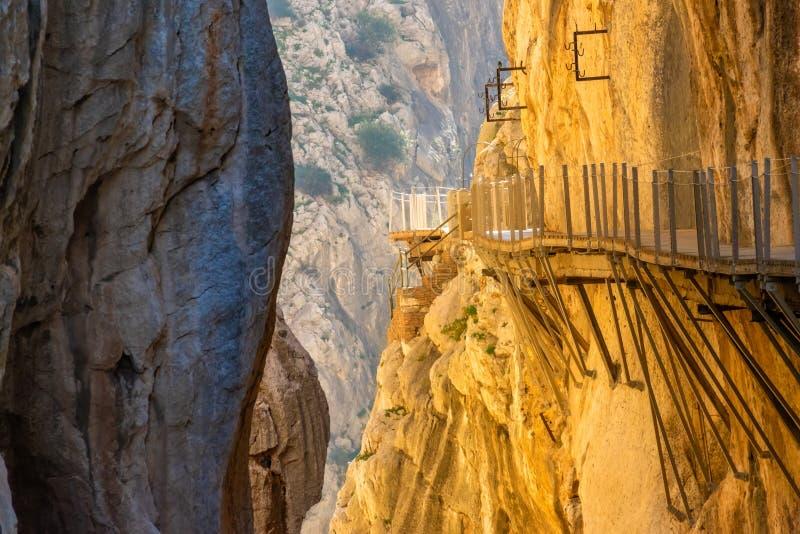 Vista dell'attrazione turistica Malaga, Spagna di El Caminito del Rey fotografia stock