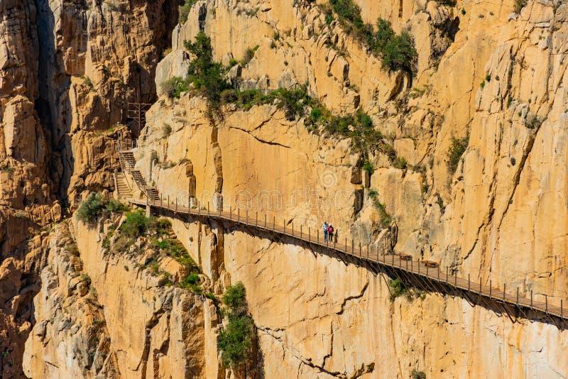 Vista dell'attrazione turistica Malaga, Spagna di El Caminito del Rey fotografie stock libere da diritti