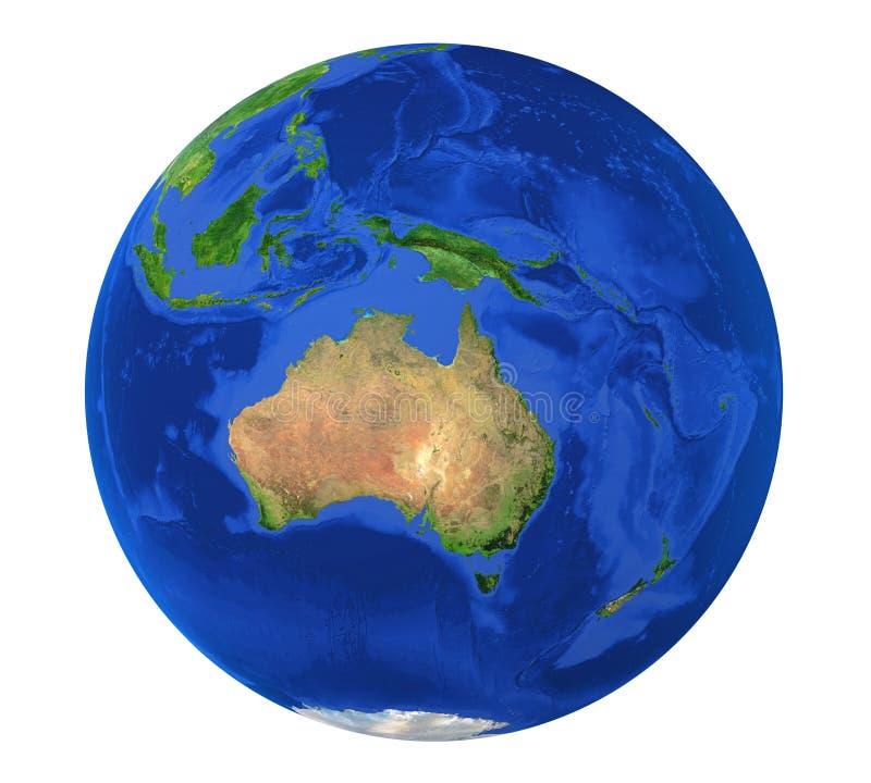 Vista dell'Australia del globo della terra isolata illustrazione di stock