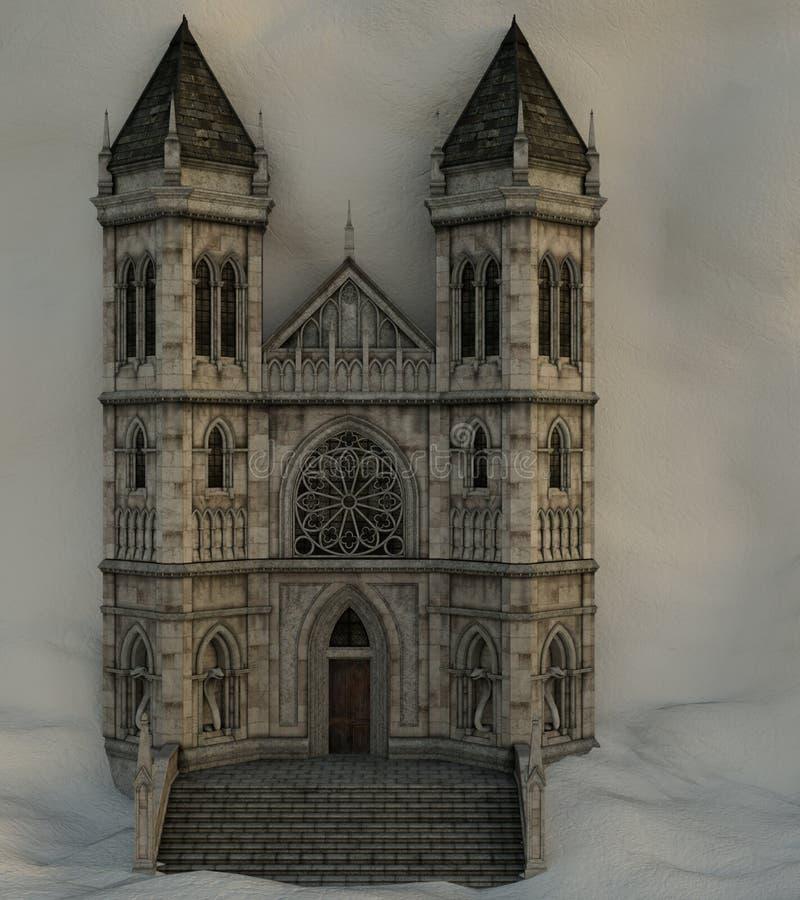Vista dell'entrata ad un castello misterioso che è coperto di neve illustrazione vettoriale