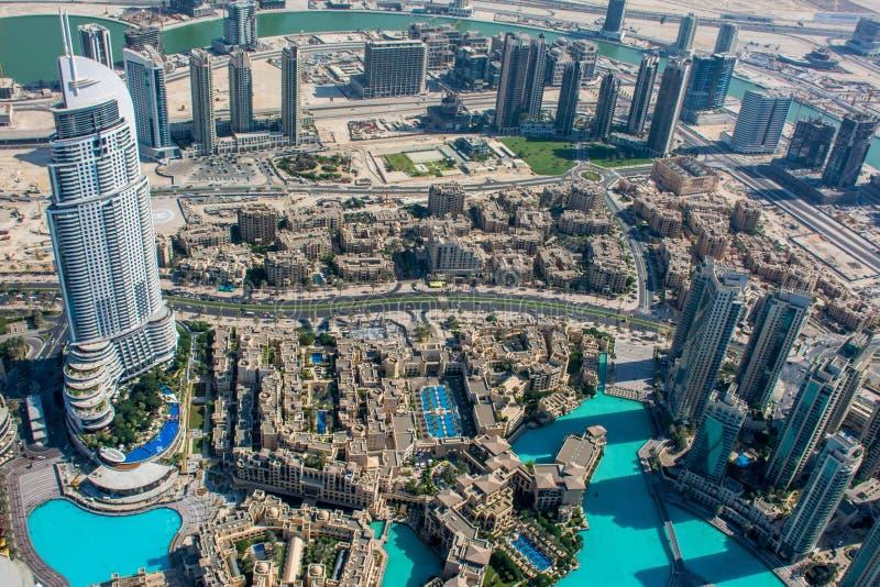 Vista dell'hotel di indirizzo da Burj Al Khalifa, Dubai immagini stock