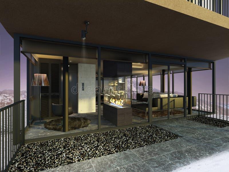 vista dell'illustrazione 3D di un salone moderno dal balcone royalty illustrazione gratis