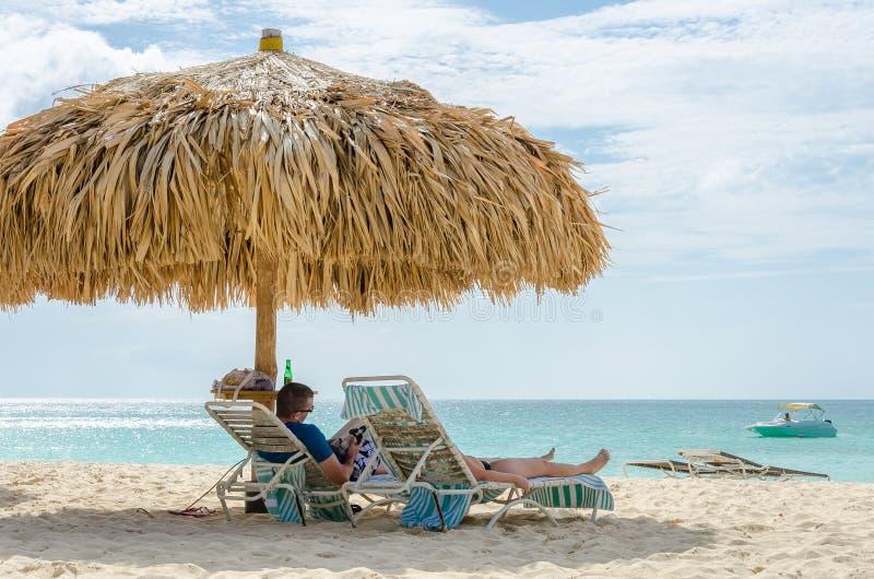 Vista dell'immagine presa dalla spiaggia dell'aquila, Aruba immagini stock libere da diritti