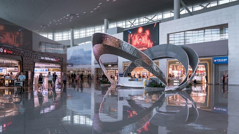 Vista dell'interno dell'aeroporto internazionale di Incheon, Seoul, Corea del Sud immagine stock libera da diritti