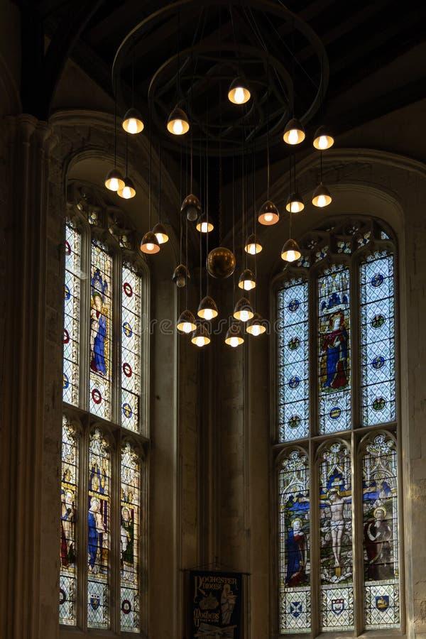 Vista dell'interno della cattedrale a Rochester il 24 marzo 2019 fotografia stock