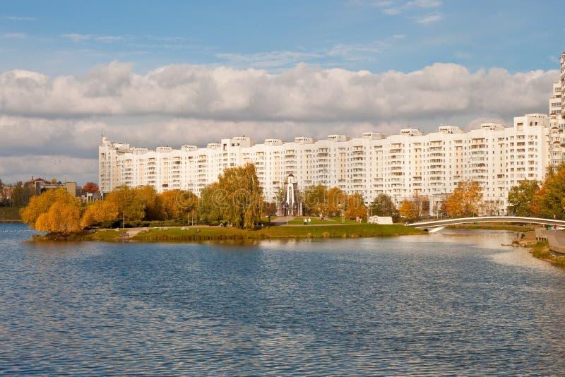 Vista dell'isola degli strappi a Minsk, Bielorussia fotografie stock libere da diritti