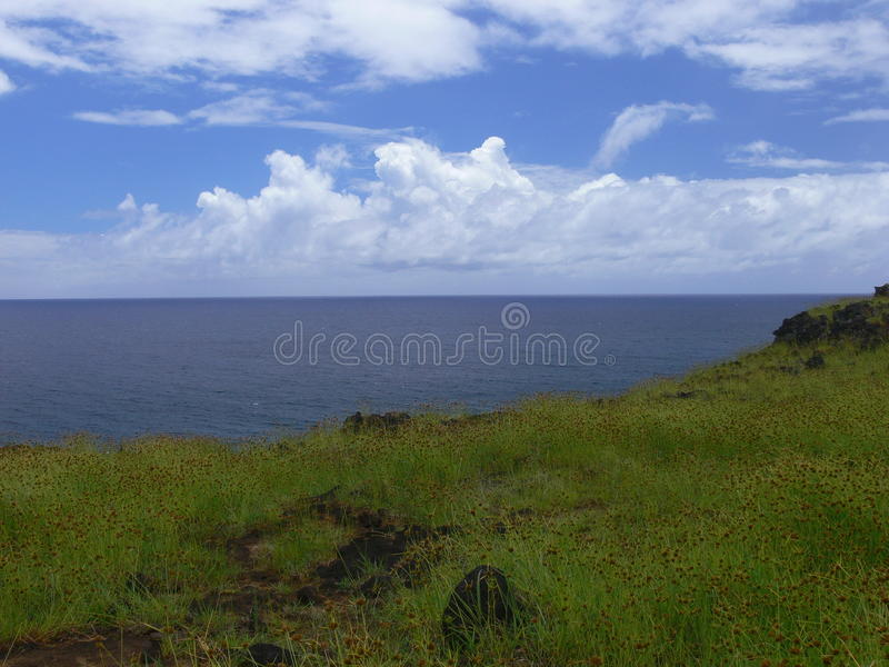 Vista dell'isola di pasqua fotografia stock libera da diritti