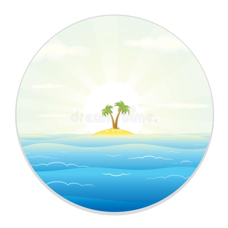 Vista dell'isola tropicale dal binocolo illustrazione vettoriale