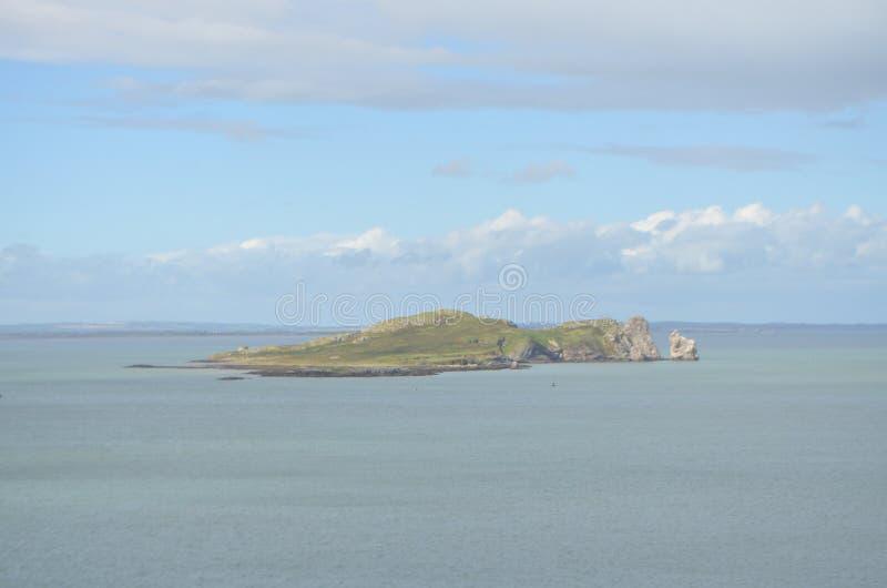 Vista dell'occhio del ` s dell'Irlanda dell'isola da Ben di Howth, Irlanda fotografie stock libere da diritti