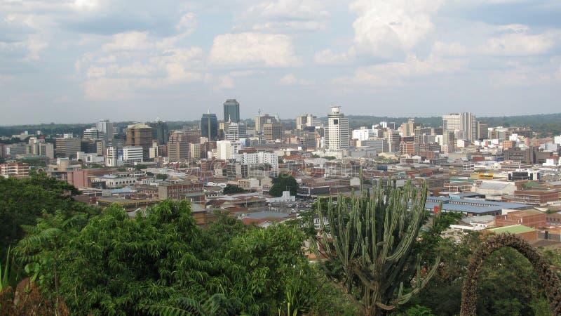 Vista dell'occhio del ` s dell'uccello del distretto centrale di Harare fotografia stock libera da diritti