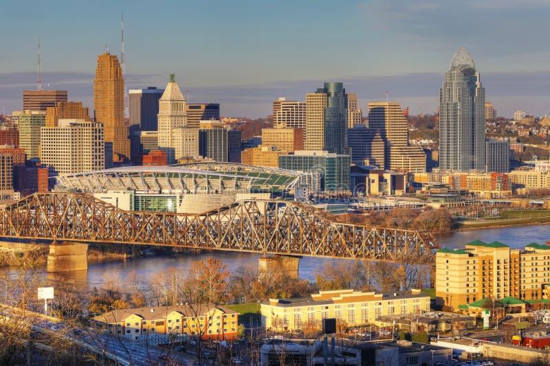Vista dell'orizzonte di Cincinnati immagini stock