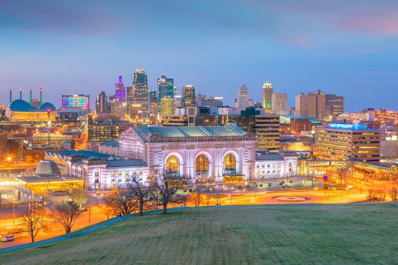 Vista dell'orizzonte di Kansas City nel Missouri immagini stock libere da diritti