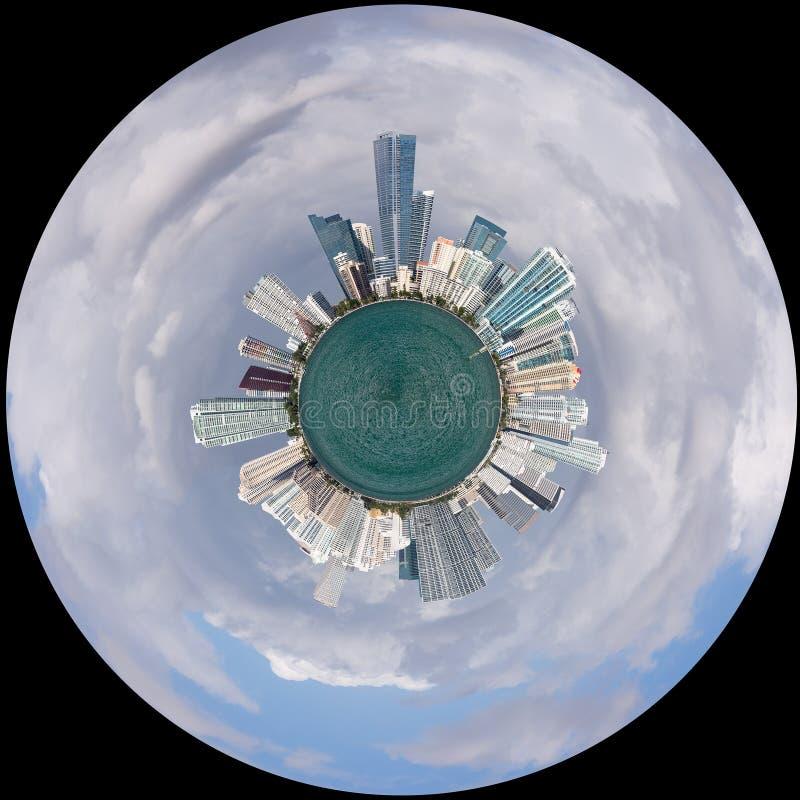 Vista dell'orizzonte di Miami come poco pianeta fotografie stock