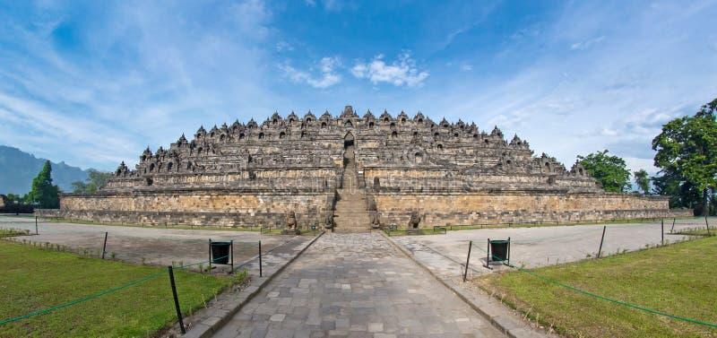 vista dell'Pesce-occhio del tempiale antico di Borobudur immagine stock