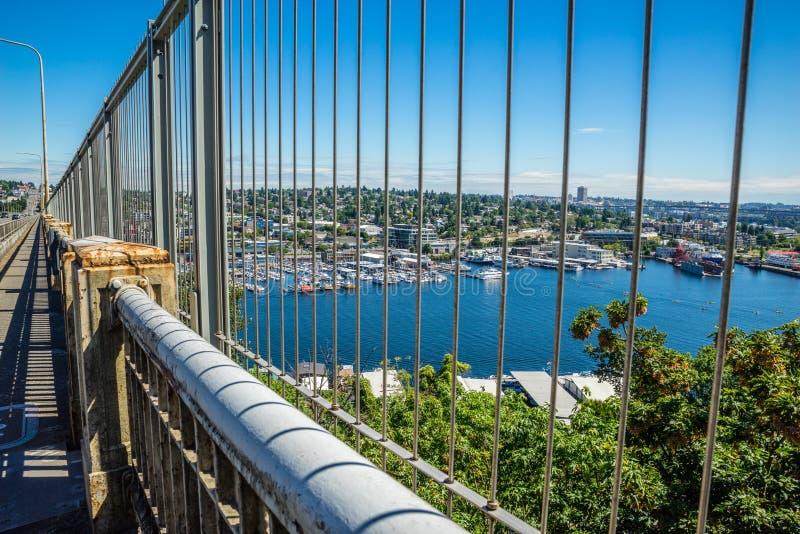Vista dell'unione del lago da Aurora Bridge fotografia stock