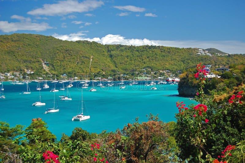 Vista della baia di Ministero della marina sull'isola della Bequia immagine stock libera da diritti